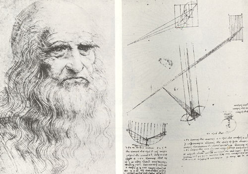 Leonardo da vinci portrait and diagrams