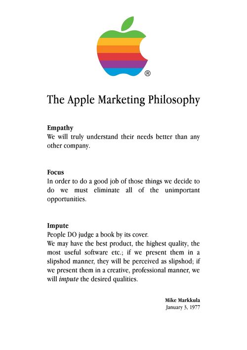 Apple Marketing Credo