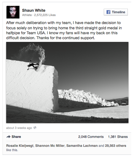 Shaun White Facebook announcement_Sochi2014